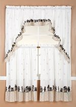 GorgeousHomeLinenDifferent Designs 3pc Kitchen Window Ruffle Rod Tier Curtains Swag Valance Set (OWL)