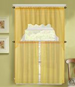 GorgeousHomeLinen (K66) 3 PC Yellow Voile Rod Pocket Window Kitchen Sheer Curtain Set 2 Tier Panels & 1 Swag Valance, Various Solid Colors