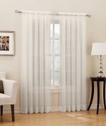 No. 918 Erica Crushed Texture Sheer Voile Curtain Panel, 51″ x 84″, Eggshell White