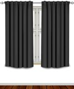 Blackout Room Darkening Curtains Window Panel Drapes – Black Color 2 Panel Set, 52 inch wide by 63 inch long each panel- 7 Back Loops per Panel, 2 Tie Back Included – by Utopia Bedding