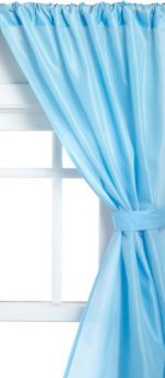 Carnation Home Fashions Fabric Bathroom Window Curtain, Light Blue