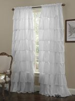 Crushed Voile Sheer Shabby Chic Ruffle Window Curtain Panel (White, 60Wx84L)