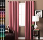 TURQUOIZE Solid Blackout Drapes, Strawberry Pink, Themal Insulated, Grommet/Eyelet Top, Nursery/Girls Room Curtains Each Panel 52″ W x 84″ L
