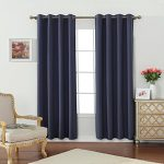 Miuco Room Darkening Textured Weaved Grommet Blackout Curtain Panels for Bedroom Curtain Set of 2 52×84 Inch Navy Blue