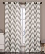 2 Blackout Room Darkening Window Curtains Grommet Panel Pair Drapes Thermal Gray Chevron 84″