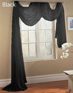 Gorgeous HomeDIFFERENT SOLID COLORS AND ALSOANIMAL PRINT 1PC SCARF VALANCE SOFT SHEER VOILE WINDOW TOPPER SWAG PANEL CURTAIN 216″ LONG (BLACK)