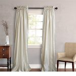 Two Piece Ivory 96-Inch Faux Silk Lined Curtain Panel Pair, Solid Pattern, Classic, And Traditional Style, Faux Silk And Polyester Silk Material, Easily To Clean, Off White, White