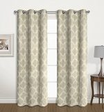 2 Pack: Regal Home Collections Luxurious Trellis Design Room Darkening Curtain Panels – Assorted Colors (Linen)