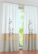 Uphome 1-Pair Fresh Embroidered Plant Pattern Grommet Window Curtain Panels – Semi-blackout Living Room Sheer Curtains,55 x 88 Inch,Sand