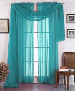 LuxuryDiscounts 1 Piece Solid Turquoise Elegant Sheer Curtains Fully Stitched Panels Window Treatment Drape 55″ X 84″