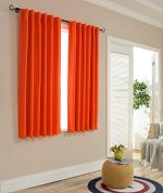 Mysky Home Thermal Insulated Blackout Back Tab and Rod Pocket Curtains for Doors, 52 x 63 Inches, Orange (2 Panel Set)