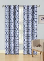 GorgeousHomeLinen (F'S) 1 Panel 2 Tone Printed Design Room Darkening Thermal Blackout Window Curtain 63″ or 84″ Long, 3 Different Designs (84″ Length, Rosa-Navy Blue)