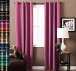 TURQUOIZE Pair(2 Panels) Solid Blackout Drapes, Fuchsia Pink Curtains, Themal Insulated, Grommet/Eyelet Top, Nursery/Girls Room Curtains Each Panel 52″ W x 84″ L