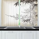 Ambesonne Kitchen Decor Collection, Japanese Art Traditional Asian Style Bamboo and Sakura Tree Zen Design Window Curtains  2 Panels, 55X39 Inches, White Black