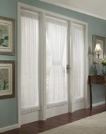Batiste Sheer French Door Curtain Panel with Tieback by GoodGram® (White, 56″ in. Wide x 72″ in. Long)