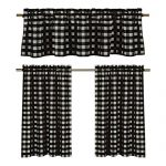 Black White Gingham Checkered Design (3 Pc. Kitchen Curtain Set)
