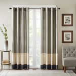 Bombay BM40-916 Conner Pieced Polyoni Window Curtain, 50 x 95″, Pewter
