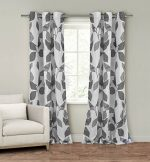 Set of Two (2) Window Curtain Panels: 110″ x 84″, Grommets, White with Gray Leaf Design
