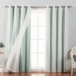 Best Home Fashion Mix & Match Tulle Sheer Lace and Blackout 4 Piece Curtain Set – Stainless Steel Nickel Grommet Top – Mint – 52″W x 96″L – (Set of 4 Panels)