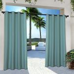 Exclusive Home EH8112-03 2-108G Indoor/Outdoor Solid Cabana Grommet Top Window Curtain Panel Pair 54×108, Teal