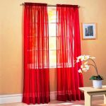 SET OF 2, 84″ LONG RED SHEER VOILE CURTAINS / TAILORED CURTAIN PANELS, 60″ WIDE by Editex