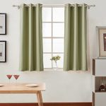 Melodieux Set of 2 Thermal Insulated Blackout Curtains for Bedroom, Antique Bronze Grommet Top, 42 by 63 Inch, Sage Green