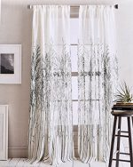 DKNY Urban Meadow Botanical Nature Floral Branches Leaves Vines Semi Sheer Window Curtains 100% Cotton 50 by 96-inch Set of 2 Road Pocket Panels Gray Beige Grey Flowers Donna Karan Drapery (Charcoal)