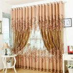 PanDaDa Modern Room Floral Tulle Window Screening Curtain Drape Scarf Purple