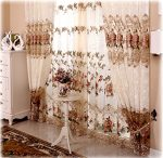 Shunshan Luxury Embroidery Floral Willow Tulle Voile Door Curtain Drape Panel Sheer Scarf Valances for Living Room, 120 x 84 inch