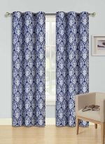 GorgeousHome (SINA) 1 NAVY BLUE Pattern Design Panel Room Darkening Thermal Lined Blackout Window Grommets Curtain 37″ W x 84″ L