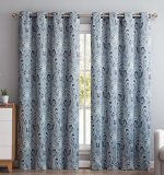 HLC.ME Paris Paisley Damask Thermal Blackout Grommet Window Curtain Panels – Pair – 50″ wide X 84″ inch Long (Blue)