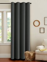 H.Versailtex Microfiber Blackout Thermal Insulated Living Room Grey Curtains with Gun Metal Grommet Top-52 x 96 – Inch in Solid Charcoal Gray(Set of 1 Panel)