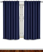 Blackout Room Darkening Curtains Window Panel Drapes – Navy 2 Panel Set 52 inch wide by 63 inch long each panel – 7 Back Loops per Panel – 2 Tie Back Included – by Utopia Bedding