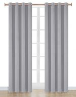 Onlyyou Microfiber Fabric Noise Reducing Thermal Insulated Solid Ring Top Blackout Window Curtains / Drapes, 2 Panels, 52 x 72 Inch, Gray