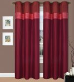 GorgeousHome **Many Colors** 1 Silky Window Drape Curtain Treatment 2 Tone Valance Design 50″ X Wide 84″ Length Jenny's (Burgundy / Rust)