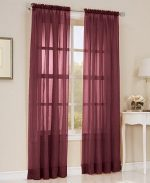 Gorgeous HomeDIFFERENT COLORS 1 PANEL 55″ WIDE X 84″ SOILD WINDOW ROD POCKET SHEER PANELS SEE THROUGH CURTAINS (BURGUNDY WINE)