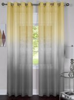 2 Piece Rainbow Ombre Grommet Sheer Curtain Panel – 84 Inch Length (Grey/Yellow)