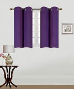 GorgeousHomeLinen (K30) 2 Panels Silver Grommets Window Curtain 3 Layered Thermal Heavy Thick Insulated Blackout Drape Treatment Size 30″ Wide X 36″ Length in Many Solid Colors (PURPLE)