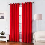 Gorgeous Home *DIFFERENT SOLID COLORS & SIZES* (#86) 1 PANEL SOLID FOAM LINED BLACKOUT JACQUARD WINDOW CURTAIN DRAPES BRONZE GROMMETS (BRIGHT RED, 84″ LENGTH)