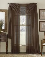 3 Piece Coffee Brown Sheer Voile Curtain Panel Set: 2 Coffee Panels and 1 Scarf