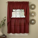 Ribcord Solid Color Kitchen Tier Curtain Pair, 54W x 36L, Wine