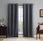 HLC.ME Lattice Thermal Room Darkening Energy Efficient Blackout Curtains for Bedroom – Set of 2 – 63″ inch Long (Charcoal Grey)