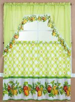 GorgeousHomeLinenDifferent Cottage Designs 3 Piece Kitchen Window Ruffle Rod 2 Tier Curtains 1 Swag Valance Set (LIME PEACHES)