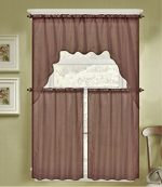 GorgeousHomeLinen (K66) 3 PC Brown Voile Rod Pocket Window Kitchen Sheer Curtain Set 2 Tier Panels & 1 Swag Valance, Various Solid Colors