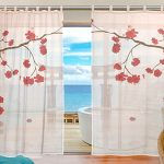 SUABO 2PCS Ultra Luxurious Window Gauze Curtains, Polyester Washable Sheer Window Curtain Panels for Bedroom Living Room 55″W x 78″L – (Set of 2 Panels), Japanese Sakura