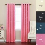 Best Home Fashion Star Print Thermal Insulated Blackout Curtains – Antique Bronze Grommet Top – Pink – 52″W x 84″L – (Set of 2 Panels)