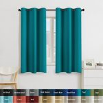 Turquoize Solid Blackout drapes, Room Darkening, Teal/ Blue Turquoise, Themal Insulated, Grommet/Eyelet Top, Nursery/Living Room Curtains Each Panel 42″ W x 63″ L (Set of 2 Panels)