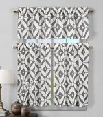 3 Piece Semi Sheer Window Curtain Set: Geometric Design, 2 Tiers, 1 Valance (Gray and White)