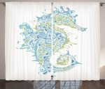 Animal Decor Curtains by Ambesonne, Greek Art Textured Ancient Seahorse Idol of Spiritual Life Cycle Artwork, Living Room Bedroom Window Drapes 2 Panel Set, 108W X 84L Inches, Light Blue Green