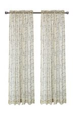 Euphoria CaliTime French Script Faux Linen Sheers Window Curtains Panel 50″ X 84″ – 1PC, Taupe